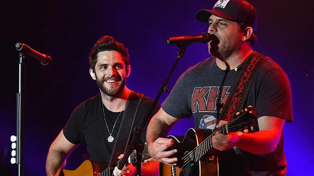 L-R: Thomas Rhett and father Rhett Akins; Rick Diamond/Getty Images for Pepsi's Rock The South