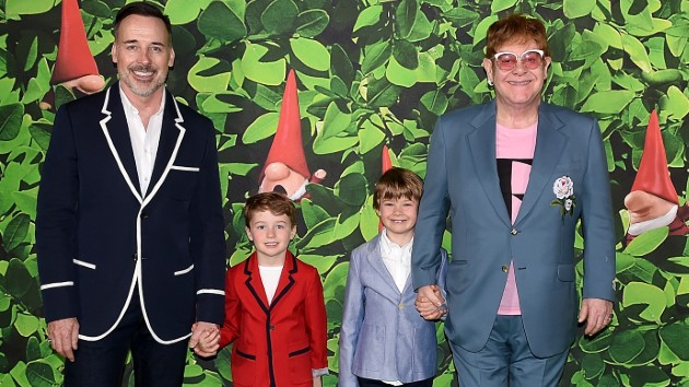 L-R, David Furnish, Elijah, Zachary, Elton John;  Stuart C. Wilson/Getty Images for Paramount Pictures