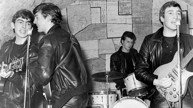 The Beatles, with Pete Best on drums, at the Cavern Club in 1961; Michael Ochs Archives/Getty Images